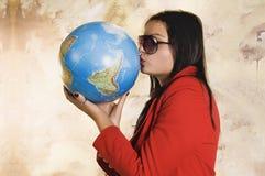 Woman and globe Stock Photo