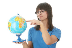 Woman with a globe Stock Image