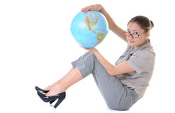 Woman with a globe stock photography