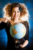 Woman with a globe Royalty Free Stock Photos