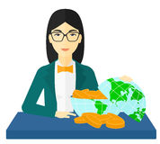 Woman with globe full of money. Royalty Free Stock Image