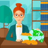 Woman with globe full of money. Royalty Free Stock Photography