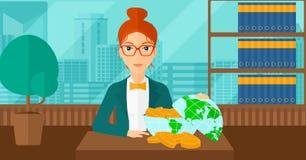 Woman with globe full of money. Stock Photo
