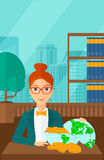 Woman with globe full of money. Royalty Free Stock Photos