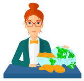 Woman with globe full of money Royalty Free Stock Image