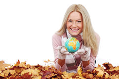 Woman with globe Royalty Free Stock Photography