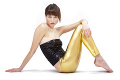Woman in glossy leggings Stock Image