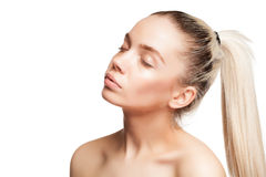 Woman with glossy skin and wet face Stock Image