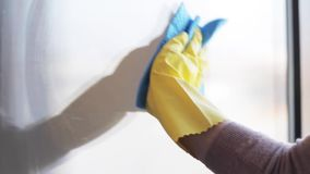 Woman in gloves cleaning window with rag and spray