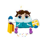 Woman go christmas shopping. Bright clothes and bags. Vector comical character. Woman go christmas shopping. Bright clothes and bags Stock Image