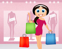 Woman go shopping Royalty Free Stock Image