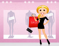 Woman go shopping Royalty Free Stock Photography