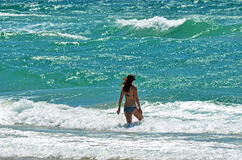 Woman go to swim Royalty Free Stock Images