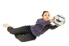 Woman goalkeeper Stock Image