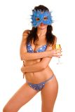 Woman and goblet with champaign Stock Image