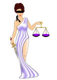 Woman goddess of the justice with weight Royalty Free Stock Photo