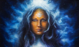 Woman goddess with long blue hair holding multicolor Illustration Royalty Free Stock Images