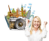 Woman going on holidays, sights Stock Photography