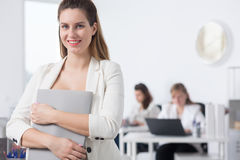 Woman going on maternity leave Royalty Free Stock Images