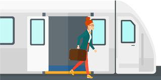 Woman going out of train vector illustration