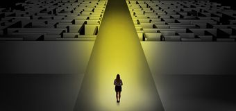 Woman going straight on two dark mazes stock illustration