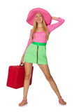 Woman going on summer vacation isolated Stock Photography
