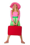 Woman going on summer vacation isolated Royalty Free Stock Image