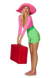 Woman going on summer vacation isolated Stock Images