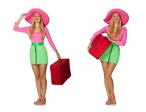 The woman going on summer vacation isolated on white Stock Images
