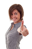 Woman going thumbs up Stock Image