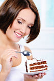 Woman going to eat a sweet pie Stock Images