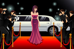Woman Going to a Red Carpet Event Stock Photography