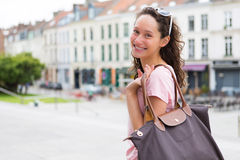 Woman going to shopping in the city Royalty Free Stock Image