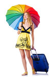 Woman going to summer vacation Royalty Free Stock Photos