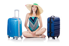 Woman going to summer vacation Royalty Free Stock Image