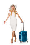 Woman going to summer vacation isolated Royalty Free Stock Photography