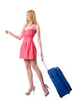 Woman going to  vacation with suitcase Stock Photos