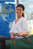 Woman going on a trip. A woman going on a trip Royalty Free Stock Image