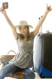 Woman going on vacation Stock Images