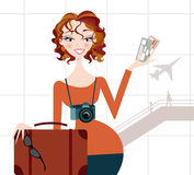 Woman going on Vacation- Airport Background Royalty Free Stock Photos