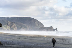 Winter Walk. A woman going for a walk on a stormy beach in winter Royalty Free Stock Image