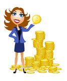 Woman With Gold Coins Cash. An illustration featuring a woman holding a gold coin and standing in front of piles of coins Royalty Free Stock Images