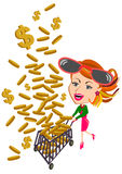 Woman and falling money concept Stock Image