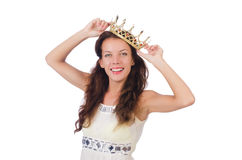 Woman with gold crown isolated Royalty Free Stock Photo