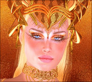Woman with gold crown, necklace, eye makeup and matching abstract gold background. Royalty Free Stock Image