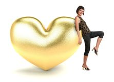 Woman with gold heart. On a white background royalty free stock images