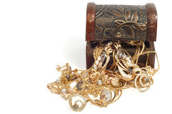 Woman gold jewelry Stock Photos