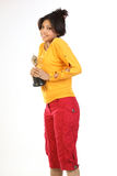 Woman  with the gold trophy. Young woman feeling happy with the gold trophy Stock Photo