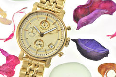 Woman gold wrist watch Stock Images
