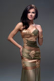 Woman in golden brown evening dress Stock Images